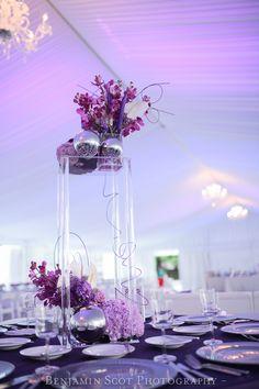 Purple silver fuchsia centerpiece, orchids, bat mitzvah, Posy, Wedding and Event Florist, Columbus Ohio,  MMJ Events