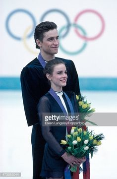 Pairs figure skaters Sergei Grinkov and Ekaterina Gordeeva of the USSR, after receiving their gold medals at the Winter Olympic Games in Lillehammer, circa February 1994.