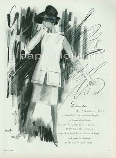 Vogue 1963 Magazine Advertisement LORD & TAYLOR White Linen Tunic Length Mademoiselle Ricci Two Piece Suit Illustration by HOOD