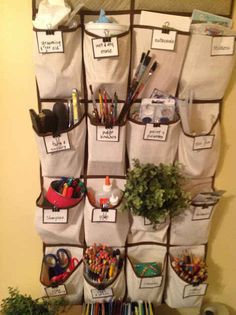 Use a shoe rack for storing supplies. | 31 Clever And Inexpensive Ideas For Teaching Your Child At Home