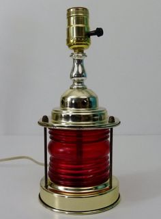 Vintage Nautical Red Glass Ship Lantern 3Way by TheLampEmporium, $56.00 Vintage Nautical, Red Glass, Table Lamps, Lanterns, Childhood, Mid Century, Essentials, Ship, Unique Jewelry