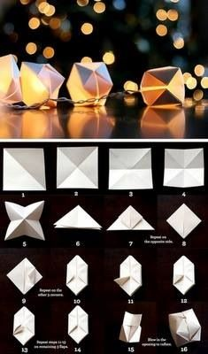 origami paper cube light, simple and sweet Wedding idea Origami Diy, Origami Tutorial, Origami Cube, Origami Balloon, Origami Boxes, Paper Balloon, Origami Ideas, Origami Frog, Geometric Origami