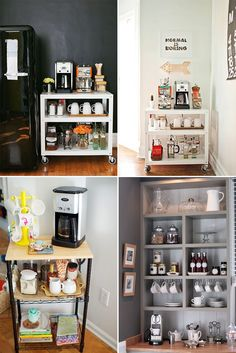 Coffee Bar Ideas - Looking for some coffee bar ideas? Here you'll find home coffee bar, DIY coffee bar, and kitchen coffee station. Coffee Bar Station, Coffee Station Kitchen, Coffee Bars In Kitchen, Coffee Bar Home, Coffee Corner, Kitchen Dining, Kitchen Decor, Coffee Bar Design, Design Café