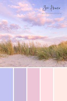 Sand Dunes at Dusk Colour Palette in pastel sunset hues Sunset Color Palette, Pastel Colour Palette, Sunset Colors, Colour Pallette, Color Palate, Pastel Colors, Vintage Colour Palette, Summer Colour Palette, Pastel Decor