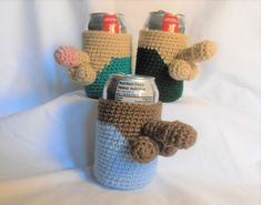 Crochet Cozy, Free Crochet, Diy Crafts Crochet, Cozy Cover, Pop Cans, Can Holders, Bachelorette Party Favors, Gag Gifts, Crochet Patterns