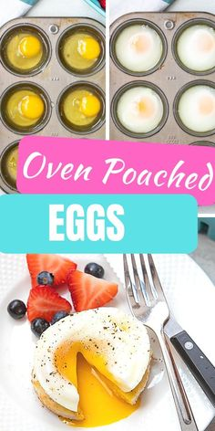 This hack will change your life! Making poached eggs can be tricky, but not anymore with this easy hack for poaching eggs in the oven! You can easily make perfect poached eggs. in oven Easy Poached Eggs, How To Make A Poached Egg, Perfect Poached Eggs, How To Cook Eggs, Egg Recipes, Brunch Recipes, Real Food Recipes, Cooking Recipes, Pancake Recipes