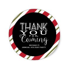 Modern Black & White, Holiday Thank You Classic Round Sticker