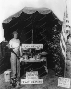 Lady With Beach Weiners Hot Dog Stand Vintage 8x10 Reprint Of Old Photo