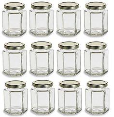 Nakpunar 12 Pcs  6 Oz Large Hexagon Glass Jars for Jam Honey Wedding Favors Shower Favors Baby Foods DIY Magnetic Spice Jars ** For more information, visit image link-affiliate link. #KitchenGlass Containers