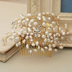 spring blossom pearl bridal hair comb by jewellery made by me | notonthehighstreet.com