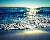 coastal, fine art, print, wall hanging, beach, waves, sand, sunset, blue, seaside- Deep Blue Sea