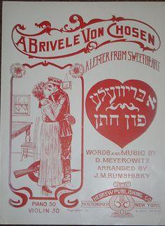 Yiddish Music Sheet Brivele Chosen Letter from Sweetheart 1916
