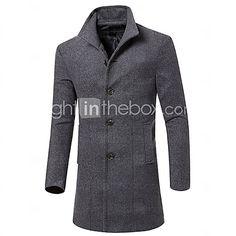 Мужской Обычная Мужской Пальто Однотонный , Длинный рукав , Другой - USD $ 23.99