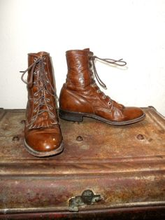 Vintage Brown Justin Lace Up Packer Boots in by PacificWonderland, $75.00
