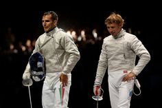 Aron Szilagyi (L) of Hungary took on Nikolay Kovalev of Russia during their Men's Sabre Individual semifinal match on Day 2 of the London 2012 Olympic Games at ExCeL on July 29, 2012 in London, England.