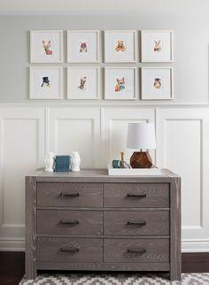 Project Nursery - Woodland nursery children kids wall art grey white wainscoting boho contemporary decor