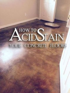 Acid Stained Concrete Floors - Step-by-Step How to Acid Stain Concrete Floors Advice from the Experts at Direct Colors! Acid Stained Concrete Floors, Cement Stain, Painted Concrete Floors, Floor Stain, Painting Concrete, Acid Concrete, Tile Wood, Concrete Staining, Ideas For Concrete Floors