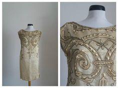Vintage 1920s dress   20s silk dress  1920s embroidered
