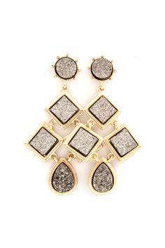 Macy Chandelier Earrings in Mocha Druzy on Emma Stine Limited