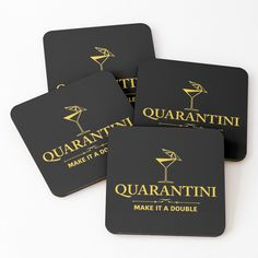 'Quarantini - Gold' Coasters by rainbowdreamer Gold Coasters, Drink Coasters, Canvas Prints, Art Prints, Coaster Set, Xmas Gifts, Print Design, Great Gifts, Entertaining