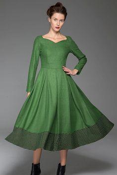 Green Winter Dress  Warm Wool Fit & Flare Woman's by xiaolizi