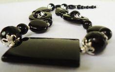 Onyx Necklace 18 Black jewelry stone Gemstone Necklaces by Shabyas, $69.00 http://www.etsy.com/shop/Shabyas