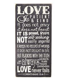 Look at this #zulilyfind! 'Love Is Patient' Wall Art by Sara's Signs #zulilyfinds