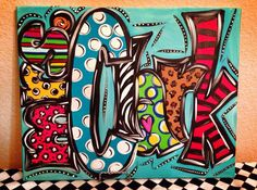 Teacher Name Handpainted Canvas 16x20 by LaurieColeDesigns on Etsy, $69.95