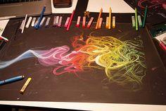 Amazing swirly rainbow gestural graphic.