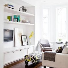 white, floating shelves, built-in tv cabinet,