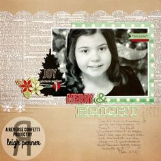 by Leigh Penner Scrapbook Cards, Scrapbooking Ideas, Scrapbook Layouts, August Colors, Merry And Bright, Xmas, Christmas, Confetti, Paper Crafts