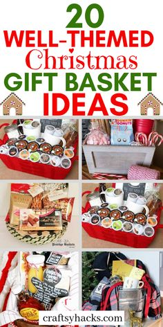 20 Well-Themed Christmas Gift Basket Ideas These cute Christmas basket ideas will inspire you to craft something special. Try making these Christmas gifts for your loved ones. Diy Gifts For Christmas, Christmas Gift Baskets, Diy Crafts For Gifts, Christmas Fun, Christmas Gifts For Neighbors, Christmas Gift Themes, Homemade Xmas Gifts, Homemade Gifts For Friends, Diy Gifts Cheap