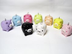 Polymer Clay Pigs In All Different Rainbow Colors! Adorable !