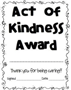FREEBIE: Acts of Kindness * To promote & recognize kindness in your students!!! There is love all around us.