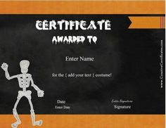 Halloween award template places to visit pinterest halloween 13 free printable halloween certificates to give out at halloween costume parties or to friends on halloween yelopaper Choice Image