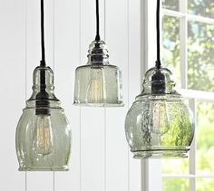 Paxton Glass Single Pendants #potterybarn over kitchen bar