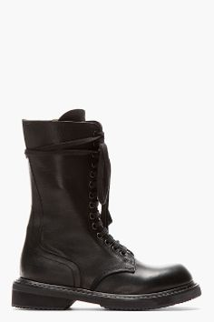 Visions of the Future: RICK OWENS black leather zip-up army boot.