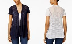 Style & Co Petite Mixed-Media Open-Front Cardigan, Only at Macy's - Sweaters - Women - Macy's