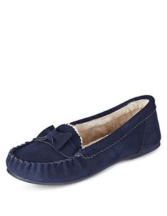 Freshfeet™ Suede Moccasin Slippers with Silver Technology | M&S