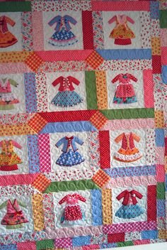 quilt patterns and quilting supplies by Thistledown and Co. including my paper doll quilt patterns. Baby Clothes Quilt, Baby Girl Quilts, Girls Quilts, Quilting Projects, Quilting Designs, Sewing Projects, Cute Quilts, Mini Quilts, Children's Quilts