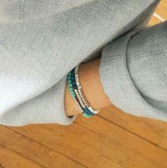 Bracelets perles en agate bleue, en howlite turquoise ou en nacre blanche et hématite. Shop on ---> www.elodietrucparis.tictail.com