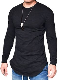 Jokhoo mens long sleeve hipster hip hop basic curved hem t shirt,black,smal Mens Fashion Blazer, Men Fashion Show, Casual Shirts For Men, Men Casual, Mens Shirts Online, Urban Style Outfits, Stylish Men, Mens Tees, Hipster