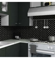 Merola Tile Lantern Black in. x 5 mm Porcelain Mosaic Floor and Wall Tile sq. - The Home Depot Simple Kitchen Cabinets, Kitchen Tops, Kitchen Backsplash, Kitchen Ideas, Kitchen Interior, Kitchen Design, Lantern Tile, White Countertops, Minimalist Kitchen