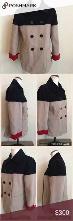 "St John Color Block Peacoat Beautiful peacoat by St John. Sewn by hand. Material- 55% Angora 32%. Wool 10% Nylon 3% Cashmere. Measurements- 25"" long, 19 1/2"" sleeve length, 16"" shoulder-shoulder, 19"" armpit-armpit. Beautiful condition, barely worn, almost like new St. John Jackets & Coats Pea Coats"