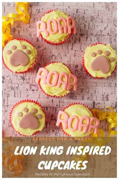 Lion King Inspired Cupcakes are perfect for a party. Plus they are easy enough that anyone can make them! 25th Birthday Cakes, Birthday Party Venues, 20th Birthday, Fun Cupcakes, Cupcake Party, Cupcake Cookies, Lion King Cupcakes, Birthday Cake Alternatives, Lion King Birthday