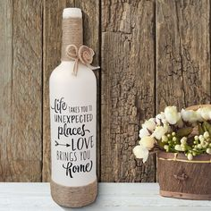 Wine Bottle Wine Bottle Gifts Wine Bottle Gifts Painted Housewarming Gift First Home Bottle Quote Wine Lover Gift Liquor Bottle Crafts, Wine Bottle Gift, Diy Bottle, Bottle Art, Crafts With Wine Bottles, Decorating Wine Bottles, Wine Bottle Decorations, Wine Bottles Decor, Twine Wine Bottles