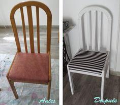 Antes y después de una silla con un poco de pintura y tela... ¡Mira el proceso en el blog!
