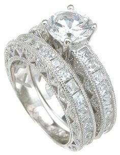 2.95 Ct Princess and Round Cut Vintage Design Solitaire Engagement Ring Wedding Set with Channel Set Side Stones