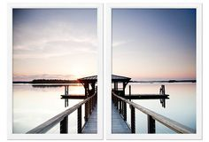 A strikingly placid scene belies a larger perspective, as a singular man gazing at sunset from a dock in Bluffton, South Carolina ponders the view and life. Presented in a framed diptych.Lake Pier Diptych on OneKingsLane.com