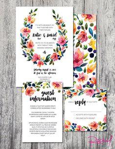 Wedding invitation custom printable watercolor floral wreath DIGITAL FILE by RachelsWorkroom on Etsy https://www.etsy.com/listing/226724855/wedding-invitation-custom-printable